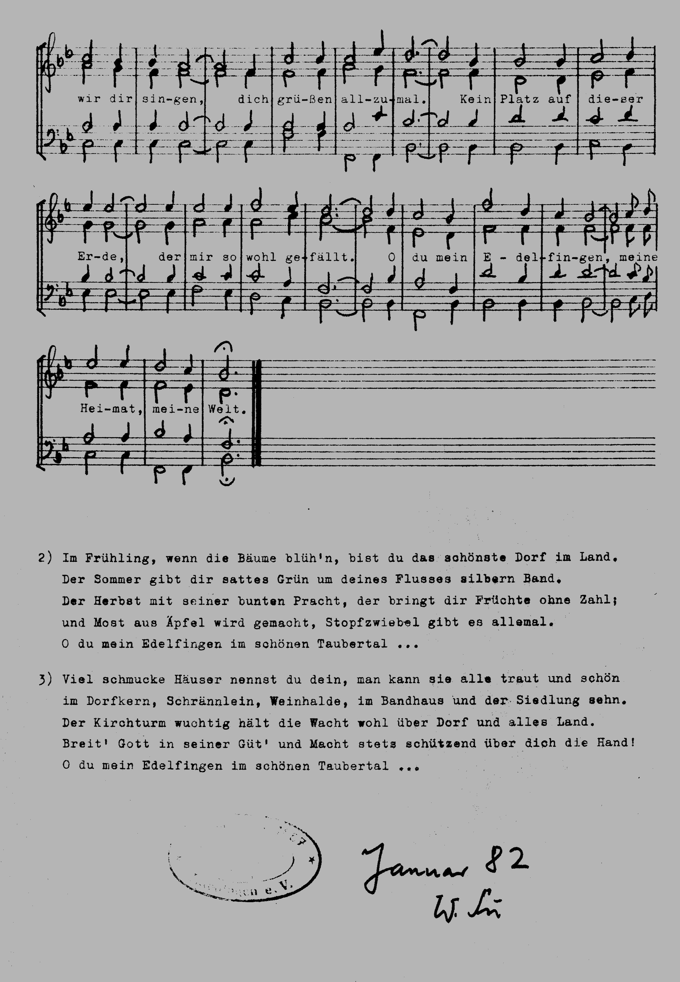 Heimatlied Edelfingen, Teil 2